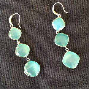 Silver and aqua stone earrings